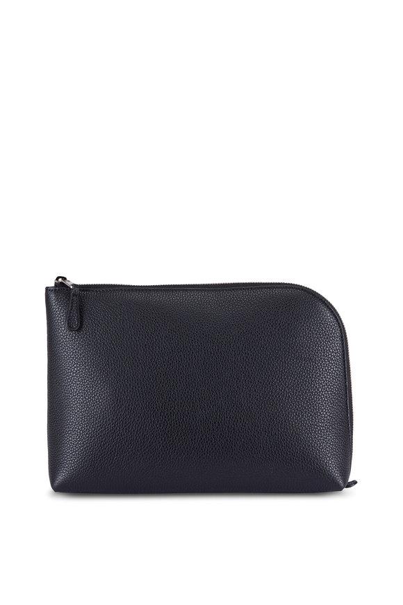 The Row Pochette Black Leather Medium Square Clutch