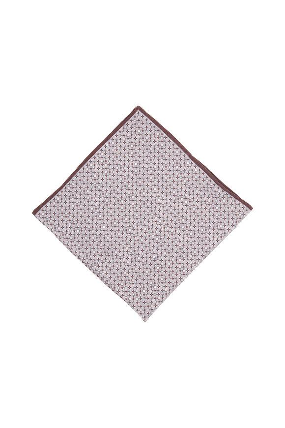 Brunello Cucinelli Brown & Grey Geometric Pocket Square