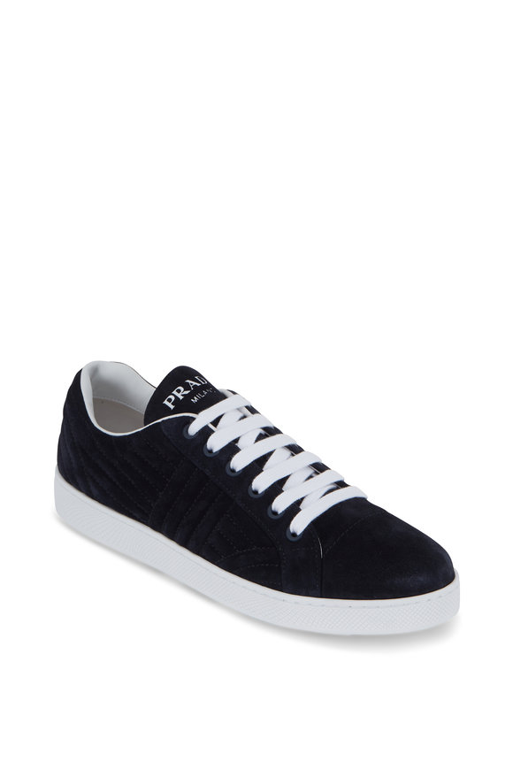 Prada Navy Blue Suede Quilted Lace-Up Sneaker
