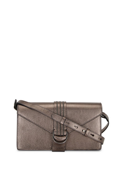 Brunello Cucinelli - Graphite Glossy Leather Monili Envelope Bag