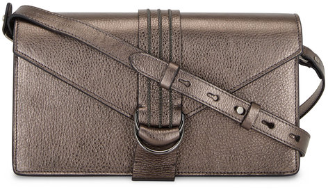 Brunello Cucinelli Graphite Glossy Leather Monili Envelope Bag