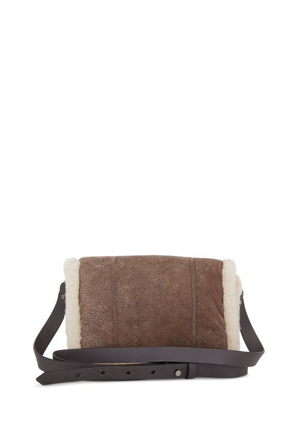 Brunello Cucinelli Mushroom Shearling Monili Detail Crossbody