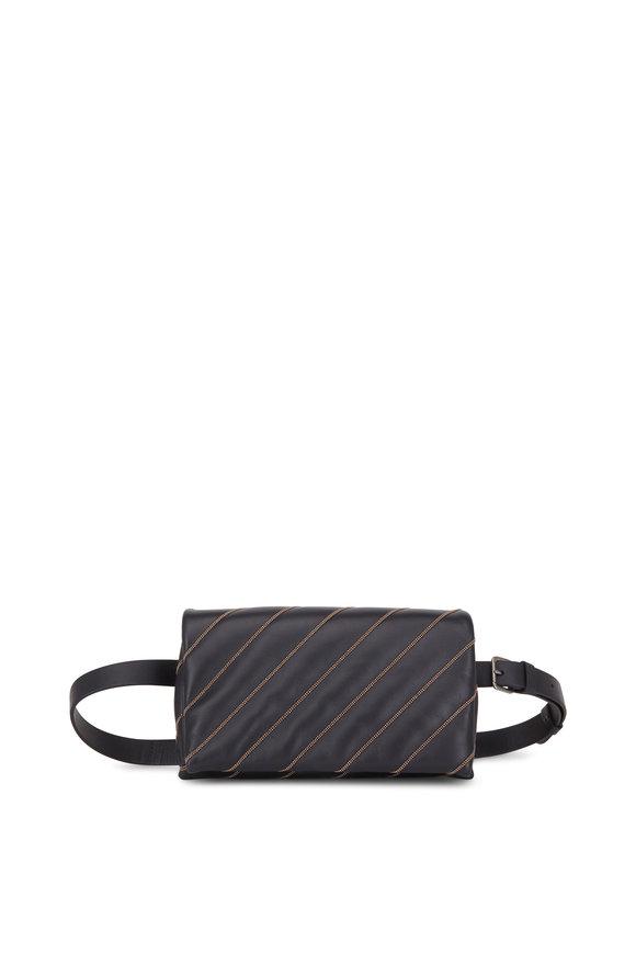 Brunello Cucinelli Black Monili Quilted Crossbody Belt Bag