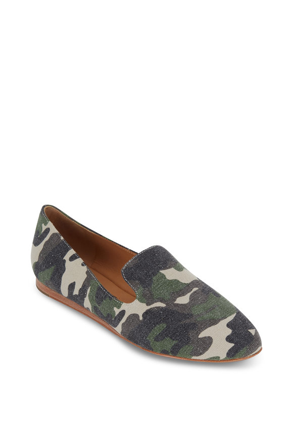Veronica Beard Griffin Camo Canvas Flat Loafer