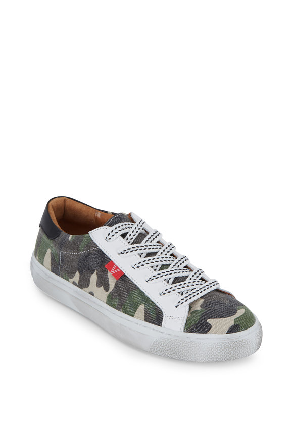 Veronica Beard Sami Camo Canvas Lace-Up Sneaker