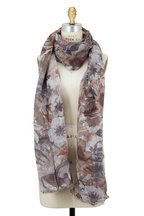 Brunello Cucinelli - White & Brown Linen Floral Toile Print Scarf