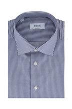 Eton - Navy & White Stripe Contemporary Fit Sport Shirt