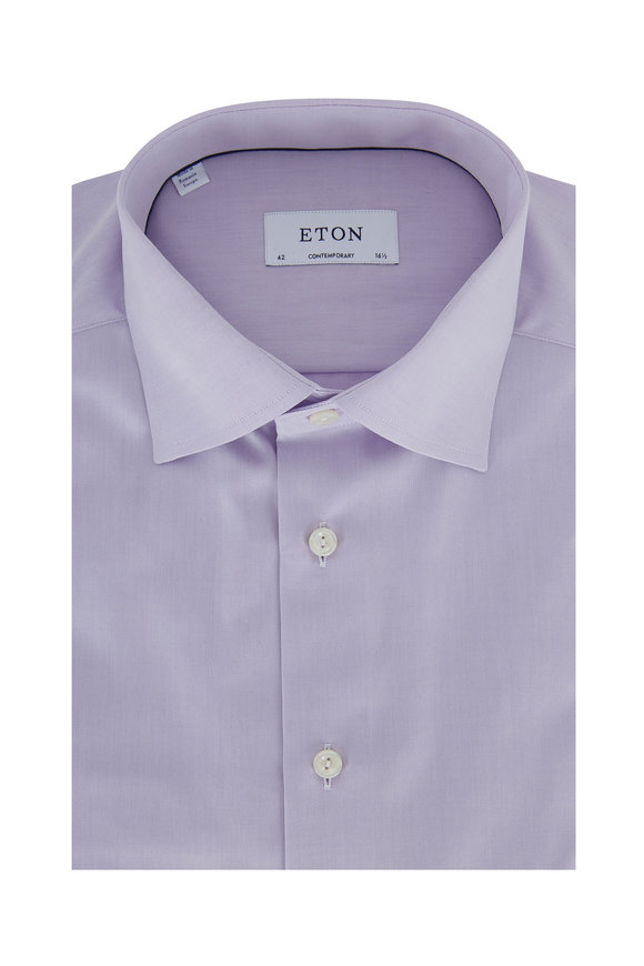 Eton Lavender Twill Contemporary Fit Dress Shirt