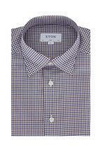 Eton - Brown & Navy Tatersol Twill Slim Fit Dress Shirt