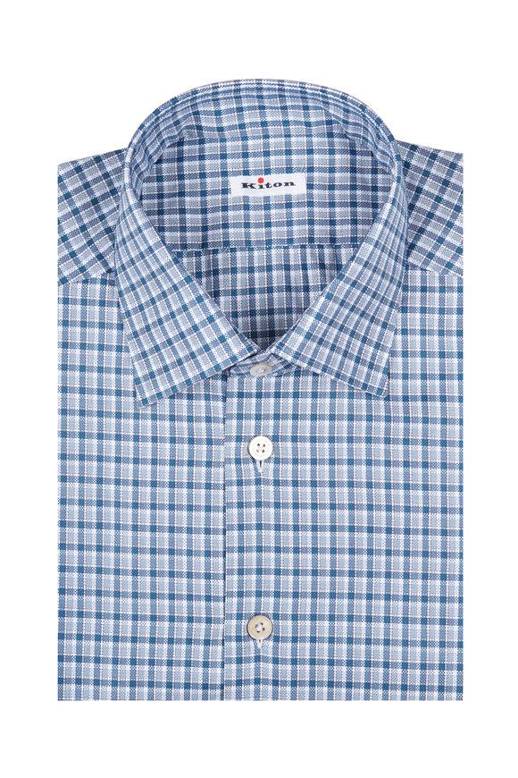 Kiton Blue & Teal Plaid Cotton Dress Shirt