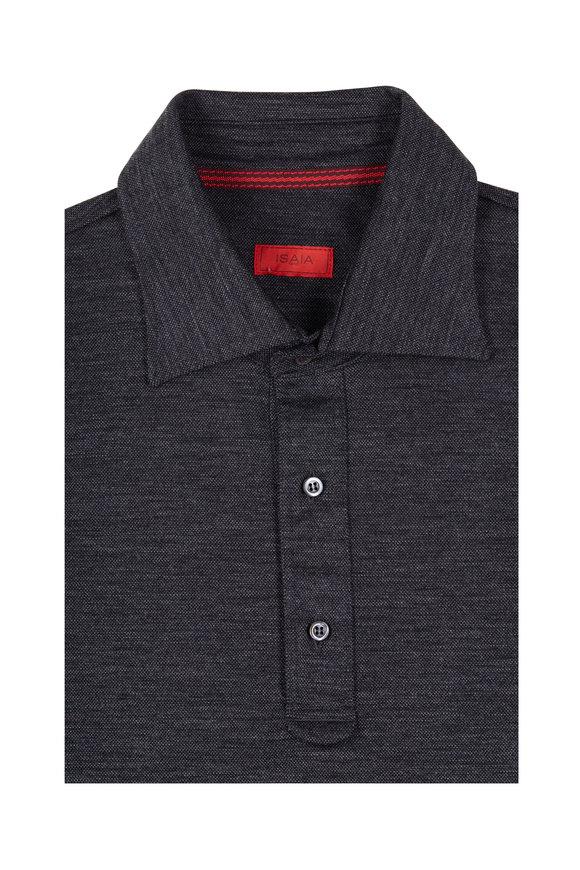 Isaia Charcoal Jersey Piqué Sport Shirt