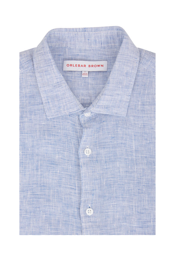 Orlebar Brown Giles Navy & White Linen Sport Shirt
