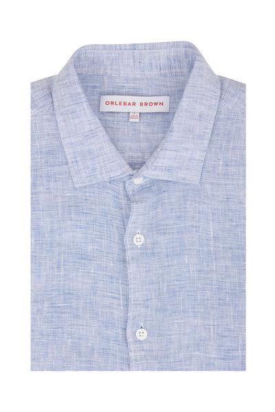 Orlebar Brown - Giles Navy & White Linen Sport Shirt