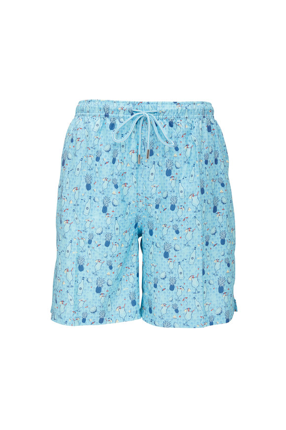 Peter Millar Pina Coladas Turquoise Swim Trunks