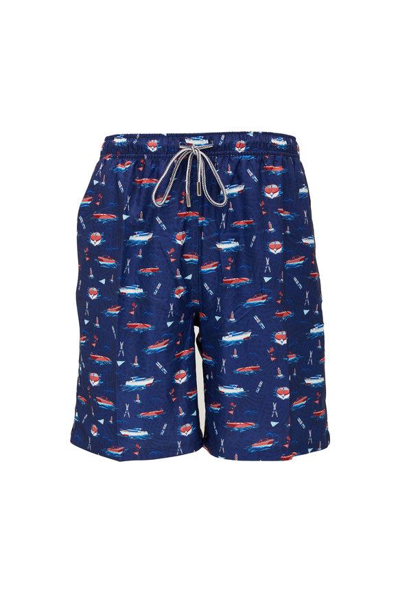 Peter Millar Cruisin' Navy Blue Swim Trunks