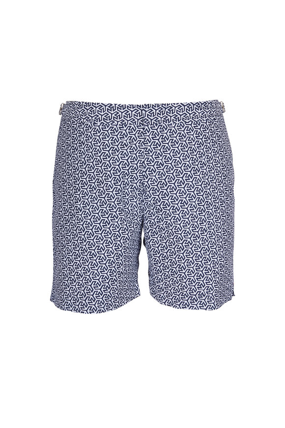 Orlebar Brown Bulldog Mira Blue & White Geometric Swim Trunks