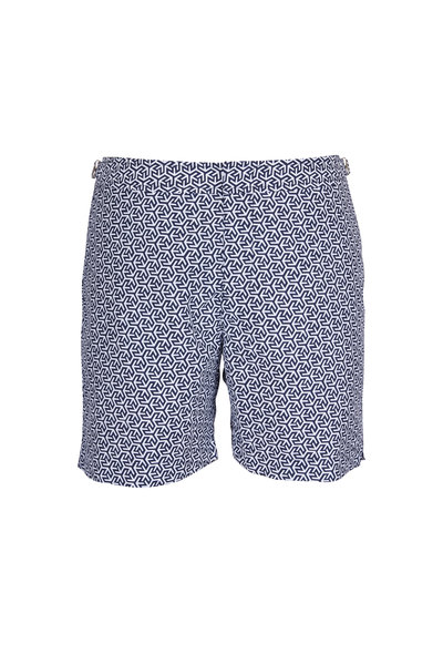 Orlebar Brown - Bulldog Mira Blue & White Geometric Swim Trunks