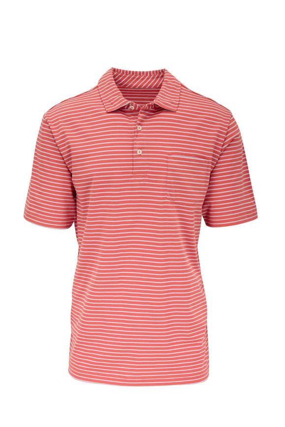 Peter Millar Seaside Red & Blue Striped Pocket Polo