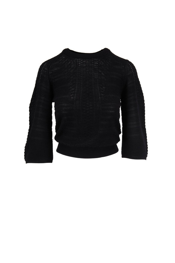 Chloé Black Knit Wool Crewneck Top