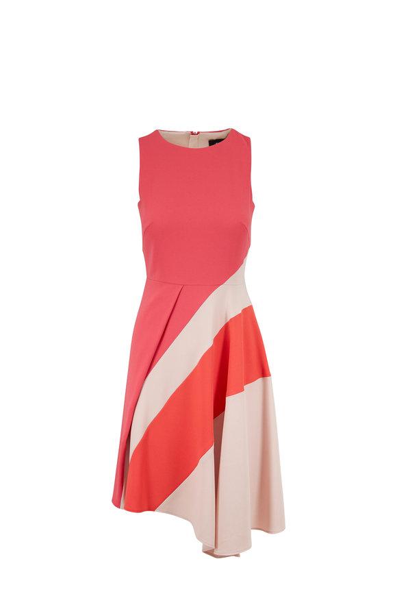 Paule Ka Pink & Powder Striped Draped Hem Sleeveless Dress