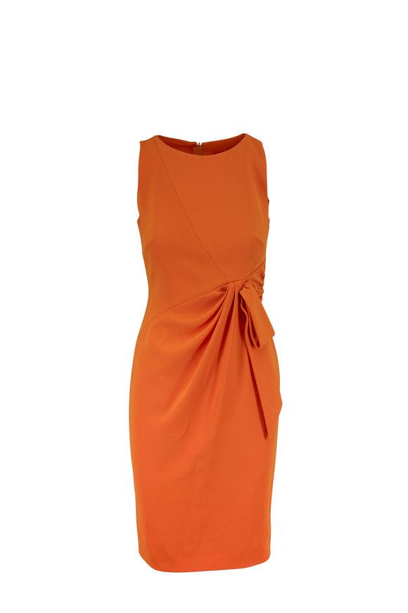 Paule Ka Mandarin Orange Side-Tie Sleeveless Day Dress