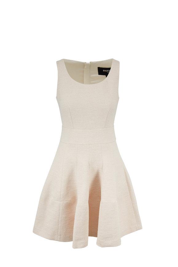 Paule Ka Ivory Textured Cotton Fit & Flare Sleeveless Dress