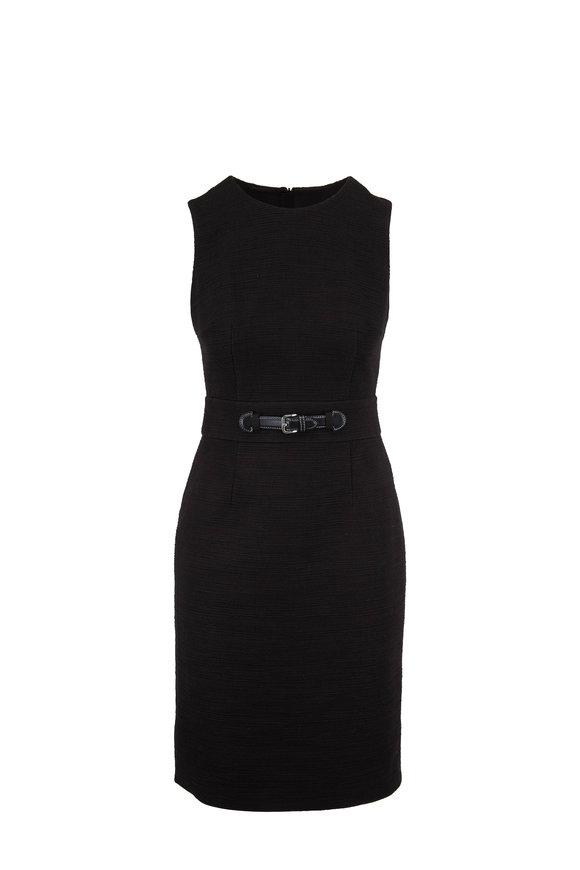 Paule Ka Black Textured Cotton Sleeveless Dress