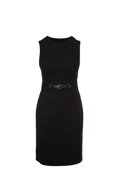 Paule Ka - Black Textured Cotton Sleeveless Dress