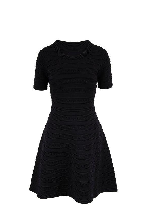 Paule Ka Black Knit Short Sleeve Fit & Flare Dress