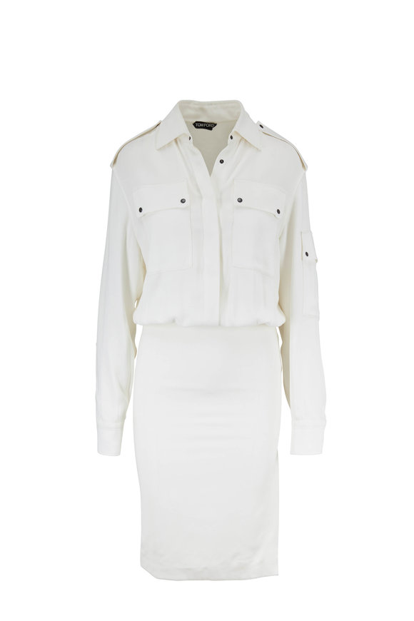 Tom Ford Chalk Crêpe Blouson Shirtdress