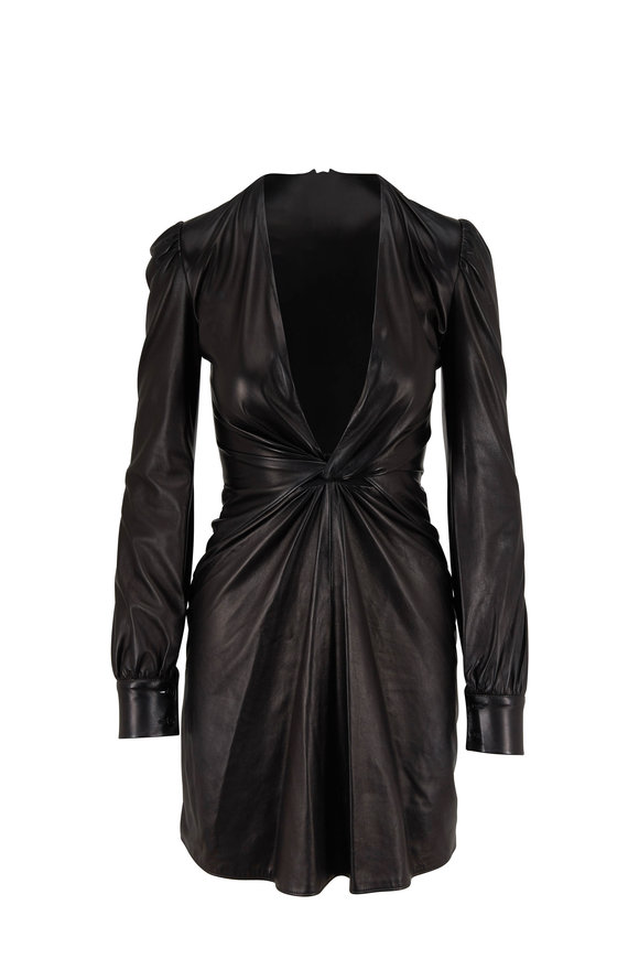Tom Ford Black Stretch Leather Deep V-Neck Dress
