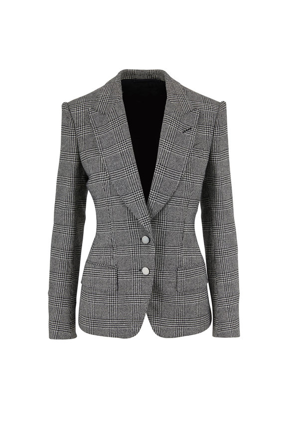 Tom Ford Black & White Plaid Wool Two-Button Jacket