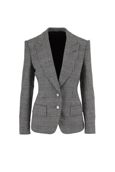 Tom Ford - Black & White Plaid Wool Two-Button Jacket