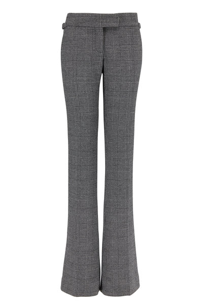 Tom Ford - Black & White Plaid Wool Slim Flared Pant