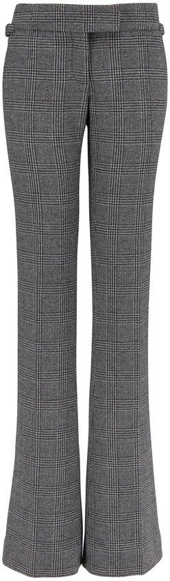 Tom Ford Black & White Plaid Wool Slim Flared Pant