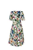 Samantha Sung - Florance White Floral Bateau Neck Belted Dress