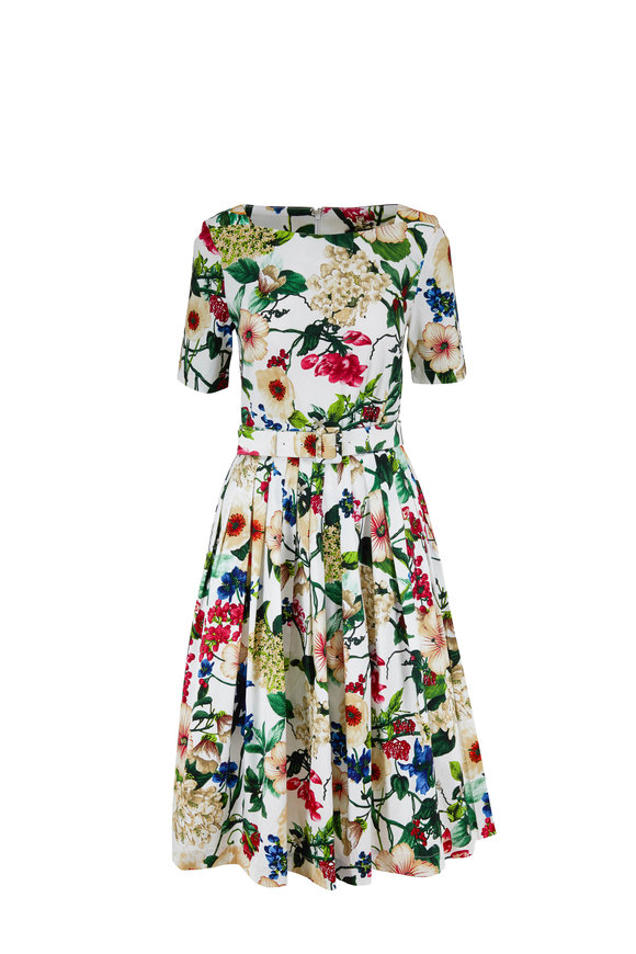 Samantha Sung Florance White Floral Bateau Neck Belted Dress