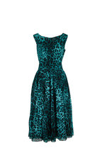 Samantha Sung - Aster Jade Leopard Print Belted Sleeveless Dress