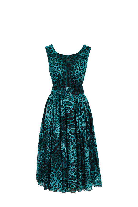 Samantha Sung Aster Jade Leopard Print Belted Sleeveless Dress