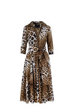 Samantha Sung - Aster Brown Leopard Print Belted Midi Dress