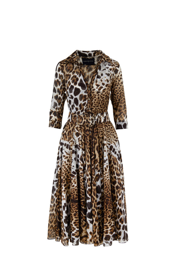 Samantha Sung Aster Brown Leopard Print Belted Midi Dress