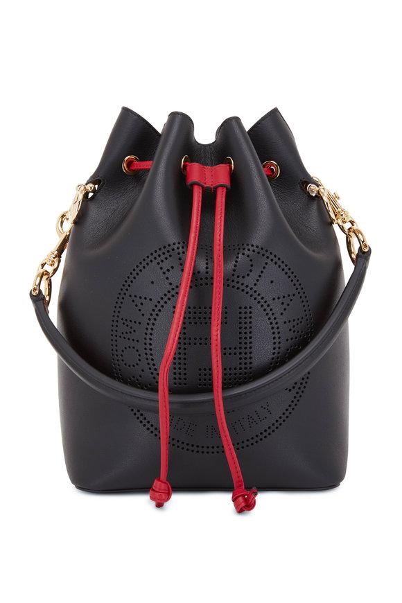Fendi Mon Tresor Black Perforated Logo Grande Bucket Bag