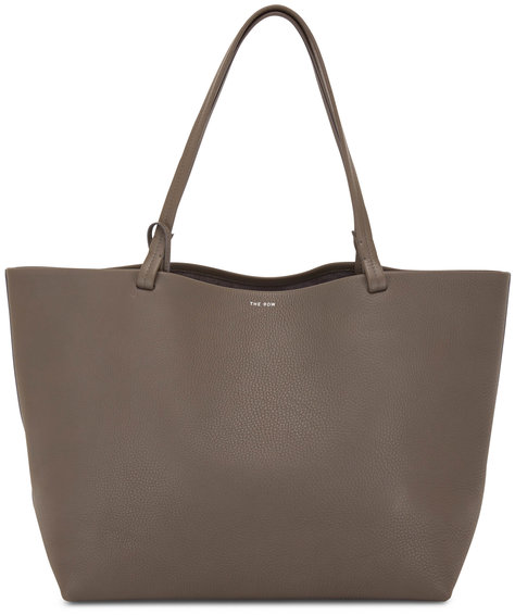 The Row Park Lux Ash Gray Grained Leather Tote