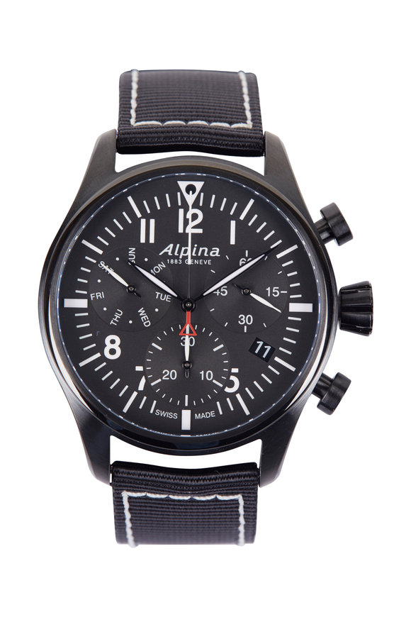Alpina Startimer Pilot Chronograph Black Watch, 42MM
