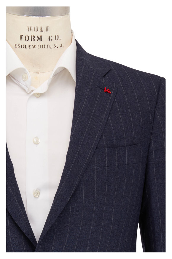 Isaia Navy Pinstripe Stretch Wool Suit