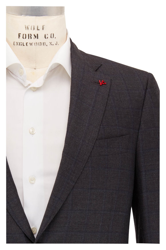 Isaia Gray Tonal Windowpane Wool & Cashmere Suit