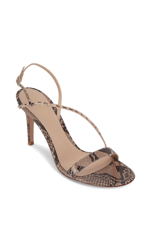 Gianvito Rossi Nude Python Slingback Sandal, 85mm