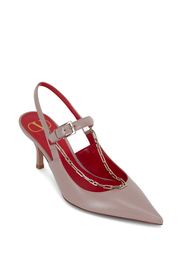 Valentino Garavani Poudre Leather Logo Chain Slingback, 70mm