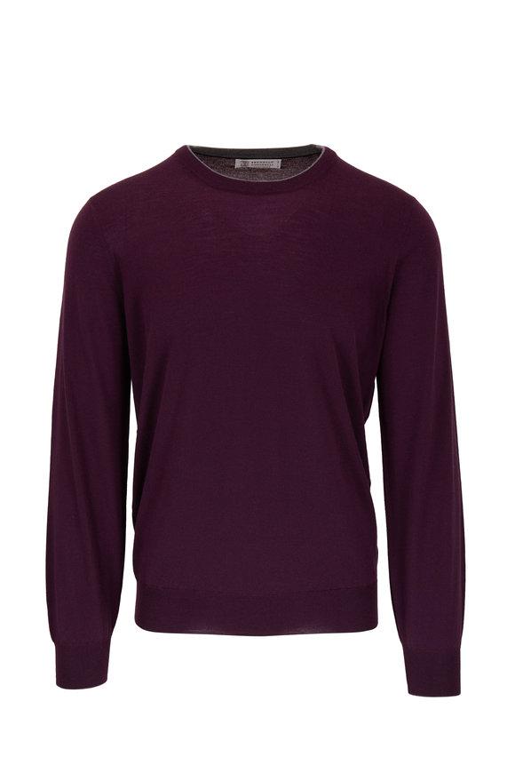 Brunello Cucinelli Plum Wool & Cashmere Crewneck Sweatshirt