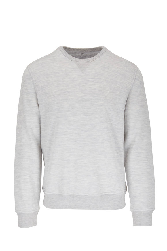 Brunello Cucinelli Light Gray Cotton & Silk Crewneck Sweatshirt